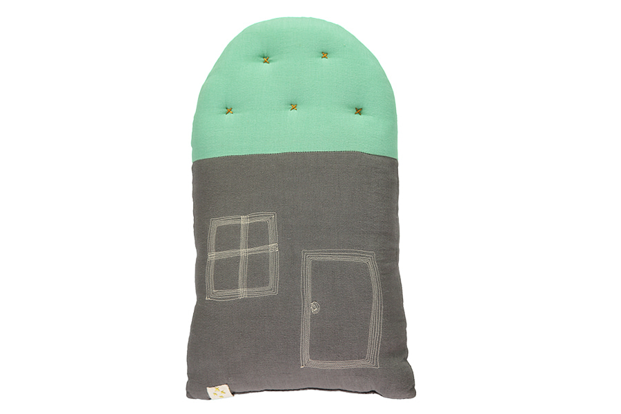 House Small cushion - slate & arsenic (24x38cm)