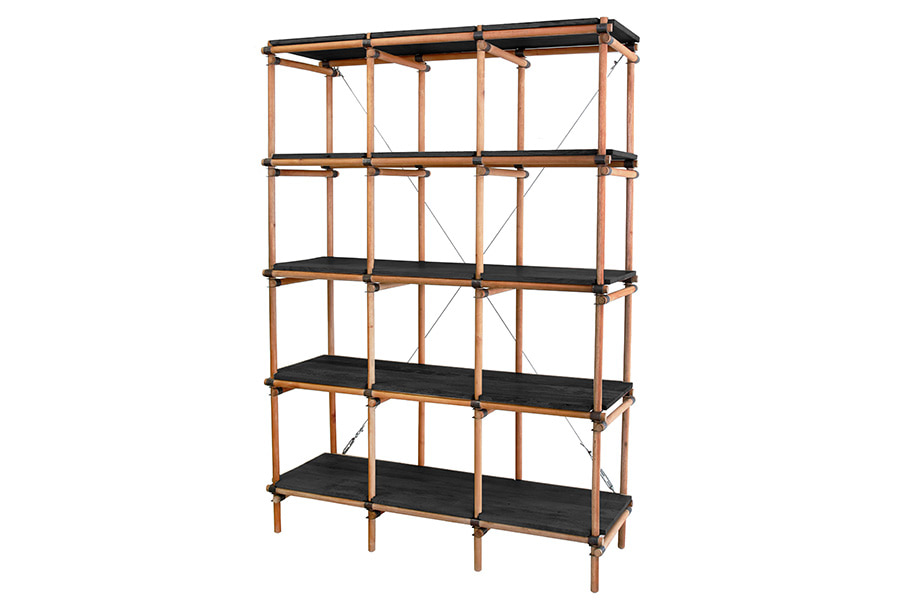 Mahogany Wood & Metal shelves (122x46x180cm)