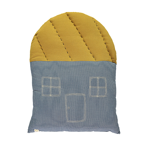 House Large cushion - mini check blue & ochre (42.5x56cm)
