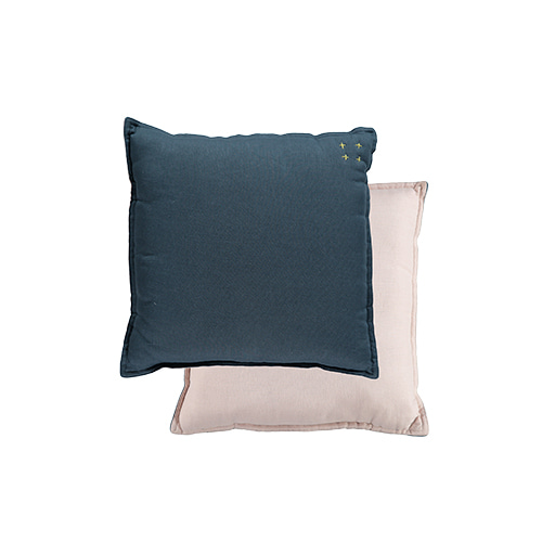 Square cushion - midnight blue & pearl pink (30x30cm)