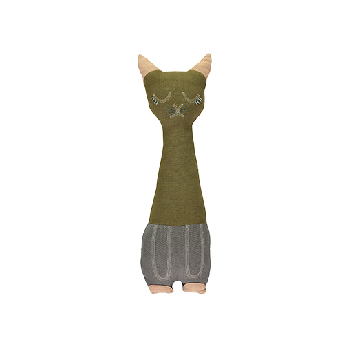 Tall Cat cushion - moss & slate (12x34cm)