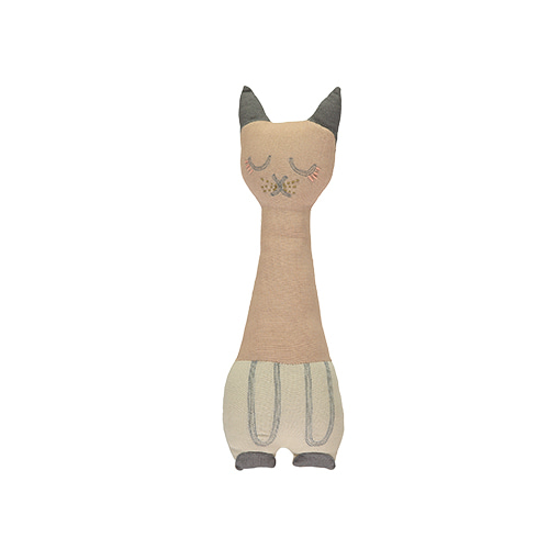 Tall Cat cushion - peach blossom & stone (12x34cm)