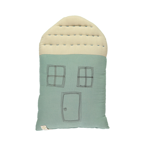 House Midi cushion - light teal & stone (29x47cm)