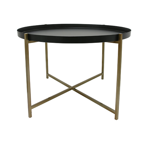 Side table - black & brass (63x63x40cm)